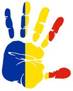 Romania flag as handprint Stock Illustration