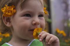 Baby in the garden Stock Photos