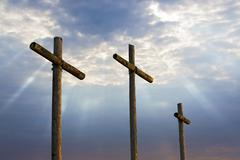 Three Crosses and Glorious Light - stock photo
