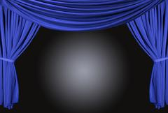 Old fashioned, elegant theater stage with velvet curtains. Stock Illustration