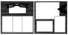 Black ribbon scrapbook frame template Stock Photos