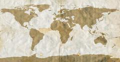 World Map on Stained Loose Leaf Paper Stock Illustration