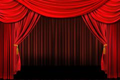 red on stage theater drapes - stock photo