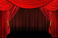 Red on stage theater drapes Stock Photos