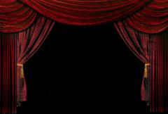 old fashioned, elegant theater stage drapes - stock photo