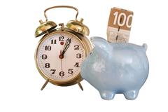 bank alarm clock - stock photo