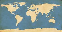 World Map on Aged Paper - stock illustration