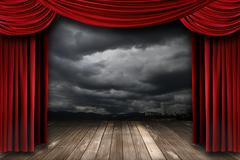 bright stage with red velvet theater curtains - stock photo