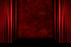Red old fashioned grungy stage drapes Stock Photos