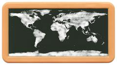 World Map on Child's Mini Chalkboard Stock Illustration