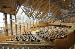 Inside The Scottish Parliament Chamber In Holyrood Edinburgh Scotland Stock Photos