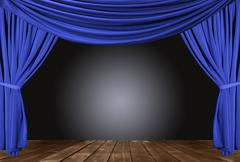 Stock Photo of old fashioned, elegant theater stage with velvet curtains.