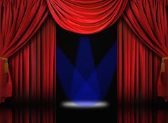 Velvet theater stage drape curtains with blue spotlights Stock Photos
