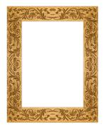 rectangular grunge dirty old golden picture frame - stock photo