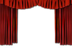 Red horozontal draped theatre curtains Stock Photos