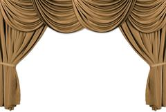 Gold theater stage draped with curtains Stock Photos