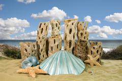mermaid shell ocean background - stock photo