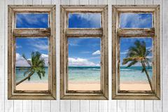 Stock Photo of ocean view from a vintage cottage
