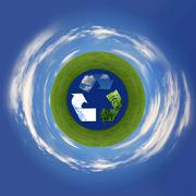 recycling symbol representing air, land and sea - stock photo