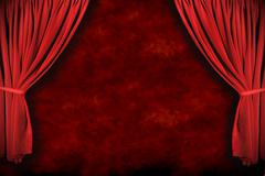 stage theater drapes with dramatic lighting - stock photo