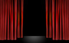 Elegant theater stage with red velvet curtains Stock Photos