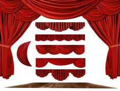 Theater stage drape elements to create your own background Stock Photos