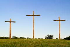 Three Wooden Crosses - stock photo