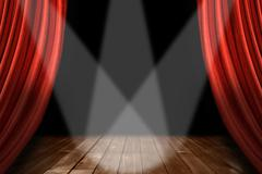 red theater stage background with 3 spotlights centered - stock photo