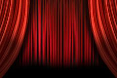 Old fashioned elegant stage with swag velvet curtains Stock Photos