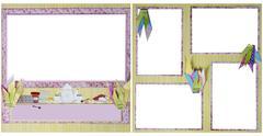 tea party .scrapbook frame template - stock photo