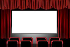 Red stage drapes in a movie theatre setting: illustration in photoshop Stock Illustration
