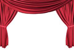 red draped theater curtains series 1 - stock photo