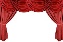 red draped theater curtains series 3 - stock photo