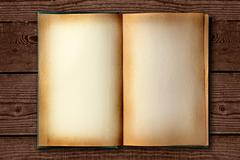 stained old work book open on distessed background - stock illustration