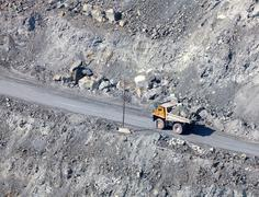 dump in the asbestos quarry - stock photo