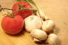 tomato  mushroom pasta - stock photo