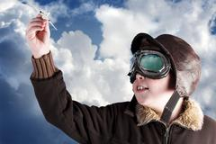 dad, i wanna be a professional pilot when i´m older - stock photo