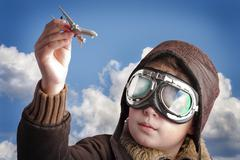 playing to be a professional pilot - stock photo
