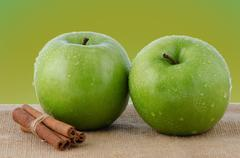 Stock Photo of two fresh green apples