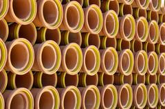 Ceramic sewer pipes Stock Photos