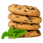 Stock Photo of chocolate cookies with mint leaves