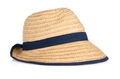 straw hat withe black ribbon - stock photo