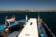 A ferry crossing the dardanelles from canakkale to the european side of turke Stock Photos