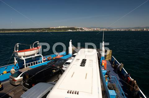 Stock photo of a ferry crossing the dardanelles from canakkale to the european side of turke