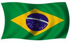 Brazil flag in wave Stock Illustration