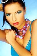 blue makeup - stock photo
