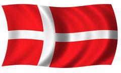 flag of denmark in wave - stock illustration