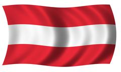 Austria flag in wave Stock Illustration