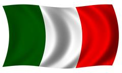 Flag of italy in wave Stock Illustration