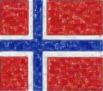 norway flag in water color - stock illustration